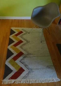 Zig-zag Geometric Rug in room