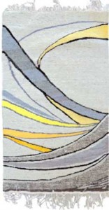 wool rug with grey and yellow curves