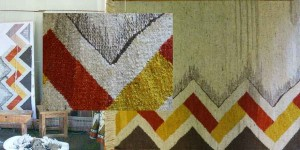 Zig zag hand spun and woven wool rug