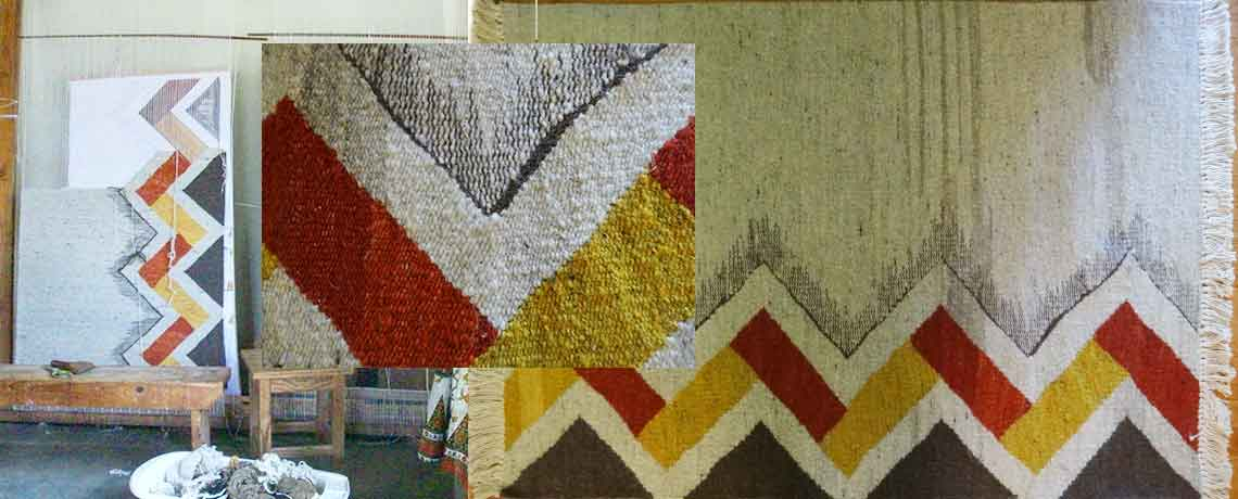 Zig Zag Hand-spun and Woven Wool Rug